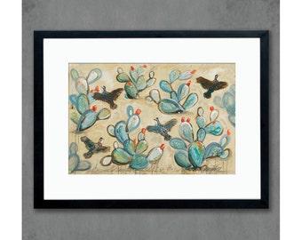 Quail & Cactus Southwest Landscape Art Print