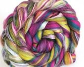 Merino Wool and Silk Luxury Blend Combed Wool Top 100g Peacock