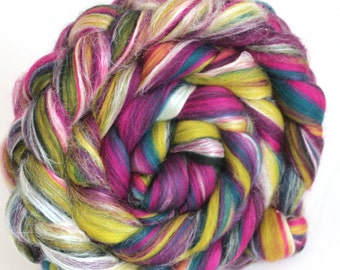 Peacock Luxury Merino and Silk Blend Combed Wool Top  Roving Fine Merino Fiber