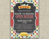 Back to School Open House Chalkboard Invitation Invite School bus Students - Printable by girlsatplay girls at play girls at play