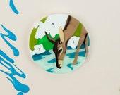 Paint By Numbers Deer Brooch laser cut handmade UK pin outdoors painting