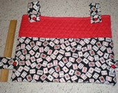 Red with Playing Cards Print Walker Bag Tote