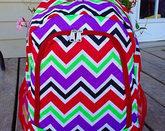 SALE Multi Red Chevron Backpack Monogrammed Name or Initials of Your Choice