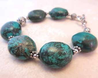 Chunky Turquoise Bracelet with Sterling Silver Bali Bead Accents