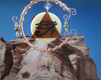 Eye in the Sky, Garden Sculpture, Stained Glass and Copper Mobile, Eye of Rah, Moon Sculpture, Pyramid, Hand Painted, Wall Hanging,Egyptian