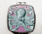 Blue Octopus Compact Pocket Mirror