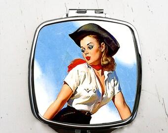 Retro Cowgirl Compact Pocket Mirror