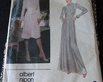 Vintage 80s Vogue 2641 Albert Nipon Tucked Dress Sewing Pattern in Two Lengths size 12 B34 UNCUT