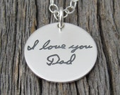 Love Note Charm Actual Handwriting Sterling Silver Necklace Personalized Keepsake Memory Charm