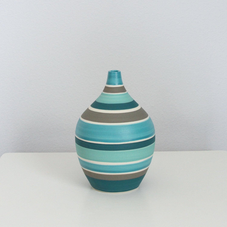 teal ceramic vase