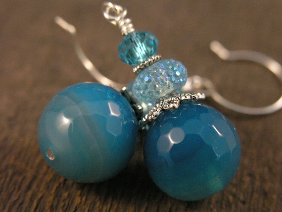 Turquoise blue earrings translucent large agate stone beads, sparkle beads and glass, silver flower handmade earrings