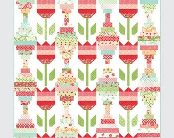 Vintage Tulips quilt pattern from Thimble Blossoms - jelly roll friendly