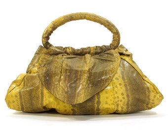 1920s Snakeskin Purse / Yellow & Black Snake Bag