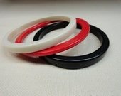 Plastic Bangle Bracelets of Red White and Black