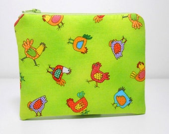 Chickens Coin Purse and Pocket Mirror Accessory Set