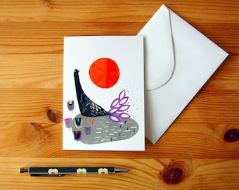 Greeting Card - Digital Print of Bird & Sun Collage - For Any Occassion