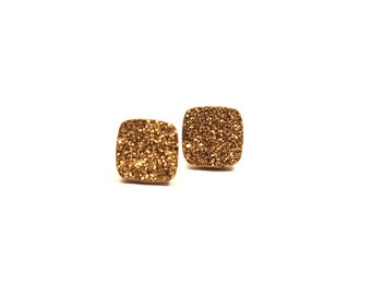 Gold Druzy Stud Earrings Metallic Diamond Square Small Genuine Titanium Drusy Quartz Gemstone Jewelry for Women on Sterling Silver Post Stud