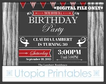 Red Gray Birthday Invitation Formal Elegant Fancy Modern Contemporary Typography Party Adult Digital Printable 5x7 Dark Grey White