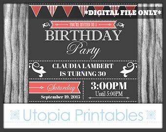 Coral Gray Birthday Invitation Formal Elegant Fancy Modern Contemporary Typography Party Adult Digital Printable 5x7 Dark Grey White