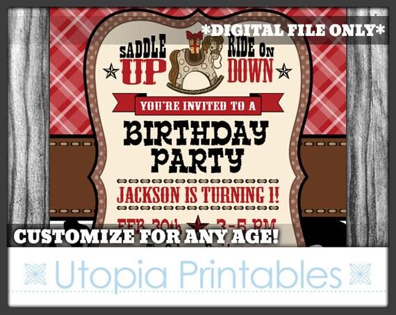 Cowboy theme boy 1st birthday invitation cute rocking horse first il570xn filmwisefo