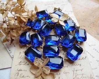 "sapphire statement necklace, collet, Anna Wintour necklace, art deco necklace, blue statement necklace, Sacred Cake.  ""Bristol Blue"""