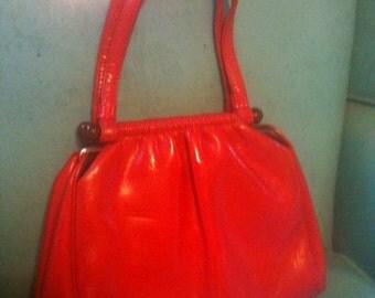 Red Handbag Vintage 60s Pleather Bag Patent Vinyl Tortoise Lucite Frame