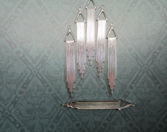 Chime Chandelier Drop Charms Silver Tone Supplies on Etsy x 6