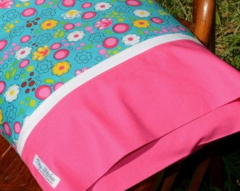 FUNKY FLORAL in Teal & Hot Pink, Travel/Toddler Pillowcase, girls bedding