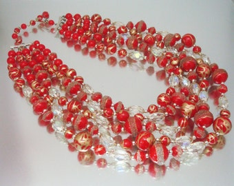Red Gold & Crystal 5 Strand Necklace Enamel Ground Glass