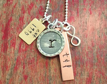 Stamped cluster family charm necklace by oak hill designs