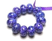 Handmade Lampwork Glass Mini Beads in Blue Violet on White - a set of 12 beads - Blue Violets