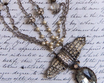Assemblage NECKLACE Vintage Rhinestones Recycled Rrepurposed Altered Art #1291