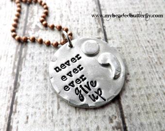 semi colon jewelry-semi colon necklace-personalized necklace-never ever ever give up-never give up necklace-personalized jewelry-hand stamp
