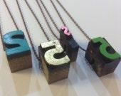 SALE-Vintage Letter Press Number Charm Necklaces-5-2 and Dollar Sign