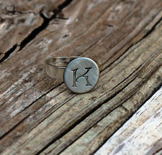 Hand Stamped Custom Initial Ring