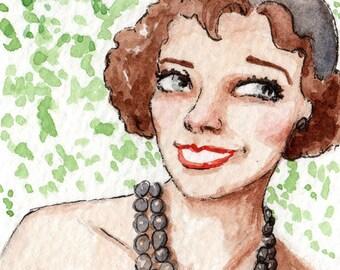 Marleen Was Great At Keeping Secrets - Original miniature watercolour painting