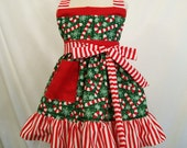 Girls Apron, Candy Cane on Green Christmas Apron,  Little Girls Handmade Apron #192