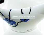 Large Hand Painted Serving Bowl by Artist Heather R Lange Asian Inspired Blue Flowers Modern Kitchenware Party Personalized Made To Order