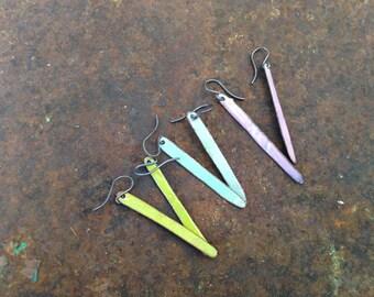 Popsicle stick earrings enamel stick earrings dangle earrings long earrings robins egg blue earrings pink enamel earrings citron enamel