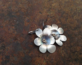 Silver flower earrings silver and gold flower earrings dangle earrings big flower earrings large flower earrings statement earrings flower