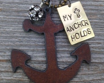 MY ANCHOR HOLDS Necklace | The Solid Rock | Hebrews 6-19 Scripture Bible Verse Hope Cross Rhinestones Rustic Metal Nautical