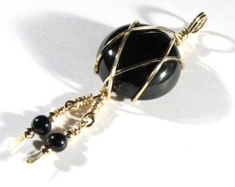 14k Gold Filled Black Onyx Wire Wrapped Pendant Necklace