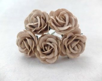 5 pcs - 35mm mulberry paper light brown rose - paper rose with wire stem - round