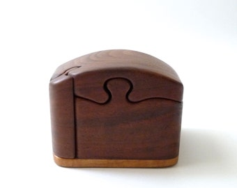 Puzzle Stash Box Handcarved  Buss Mushroom Mid Century Modern