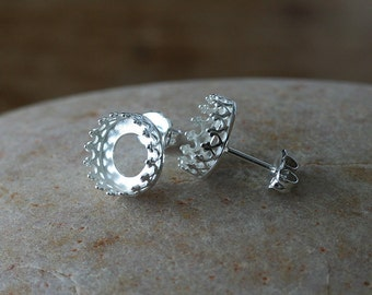 Gallery Bezel Crown Setting Post Stud Earrings 10 mm or 12 mm • Sterling Silver • Ready to be Set with Your Own Stones • Supplies