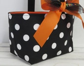 Halloween Candy Basket Bucket Bin - Trick or Treat  - Black with White Polka Dots Fabrics