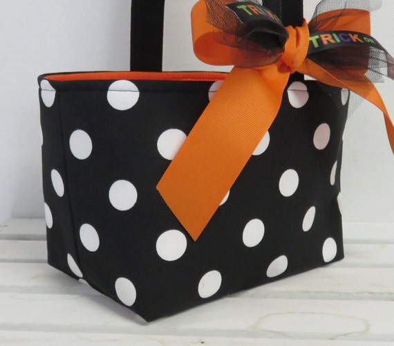 READY TO SHIP - Halloween Candy Basket Bucket Bin - Trick or Treat  - Black with White Polka Dots - Personalized / Name Tag Available