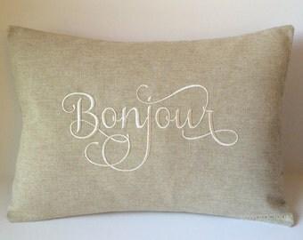 Bonjour Pillow Cover 12 x 16. French Country Decor. Hello Foreign Language Throw. Farmhouse Decor. Decorative Throw Pillow. Housewarming