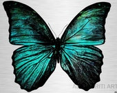 Butterfly printable download poster insect nature childrens colourful print download pop art aqua turquoise