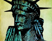 Liberty printable download poster colourful print download pop art green blue statue